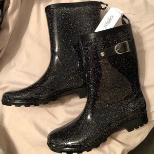 Capelli New York mid-calf rain boots, shiny dots